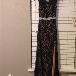 Dresses & Skirts - Black Lace and Beige Long Dress with Slit